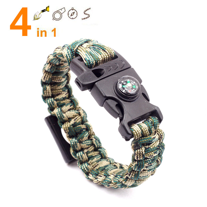 4in1 Emergency Survival Bracelet For Men Women Outdoor Rescue Parachute Cord Wristband Bottle Opener Whistle Compass Paracord