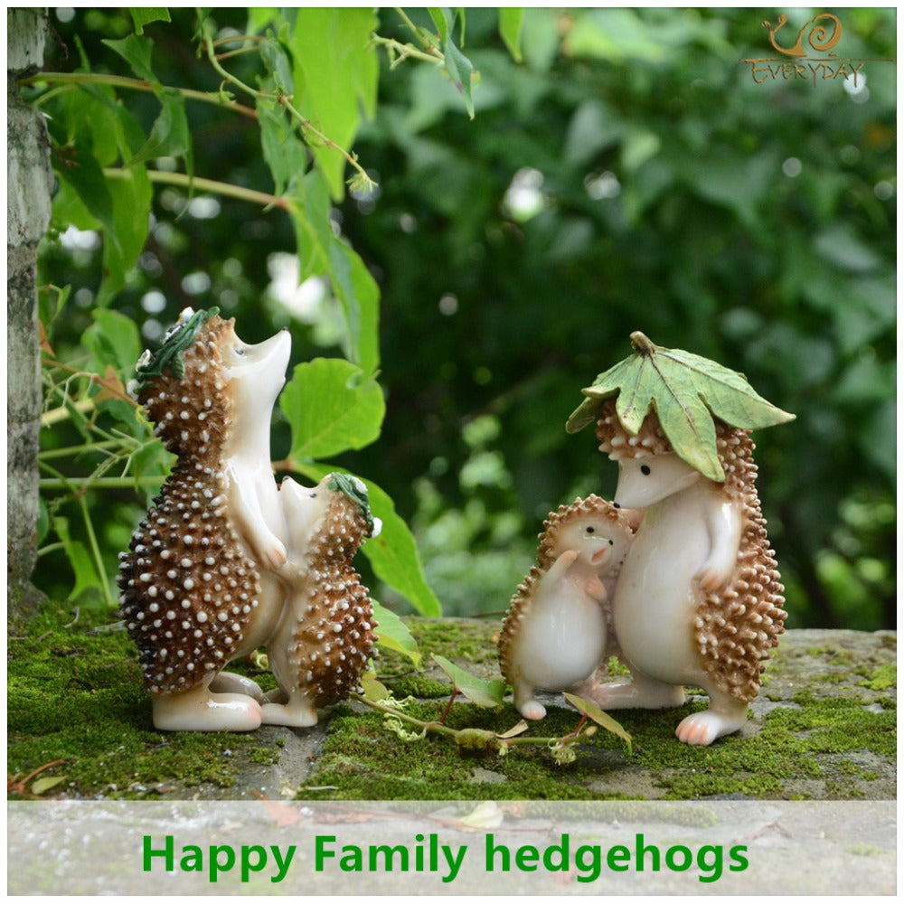 Everyday Collection Resin Family Hedgehog Fairy Garden Decorations Accessories & Party Decoration