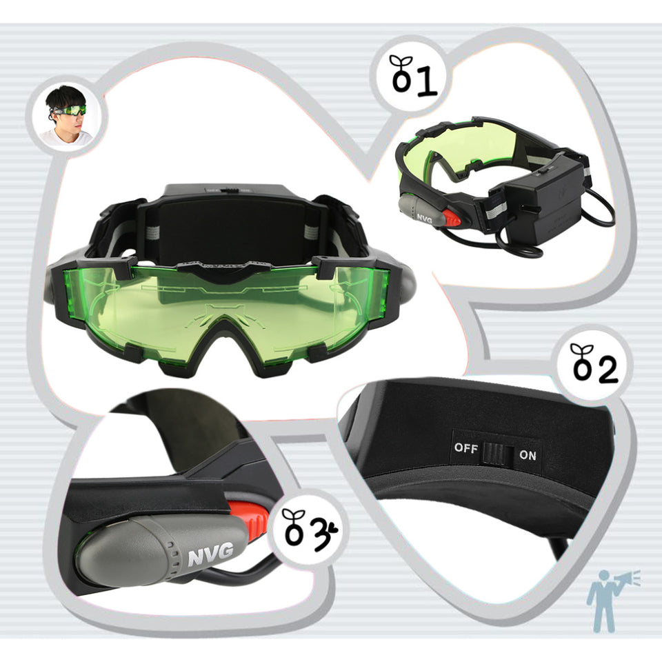 Adjustable LED Night Vision Goggles With Flip-Out Lights Lens Glasses Eye Protection
