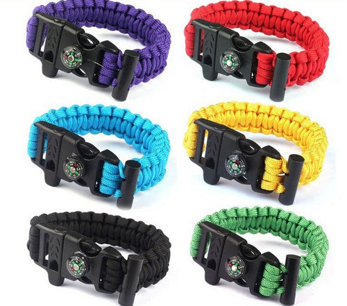 Fashion Climbing Emergency Outdoor Multifunctional Paracord Umbrella Rope Compass Outdoors Survival Whistle Explore Bracelets