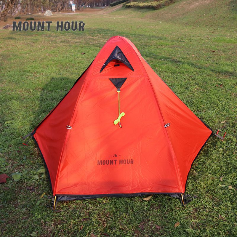 Single 20D Silicone Fabric Light Backpacking Double Layers Aluminum Rod Camping Cycling Tent