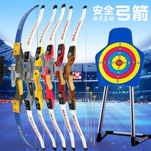 7 Color Recurve Bows for Children Safe Outdoor Sports Bow for Hunting Practice with 3pcs Sucker Arrows Shooting Game