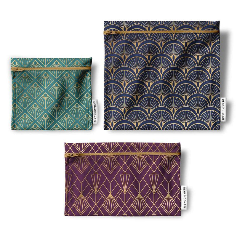 Trio of reusable bags - Art Deco