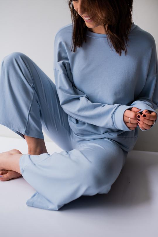 Mary Boxy Longsleeves DUSTY BLUE / PALE BLUE