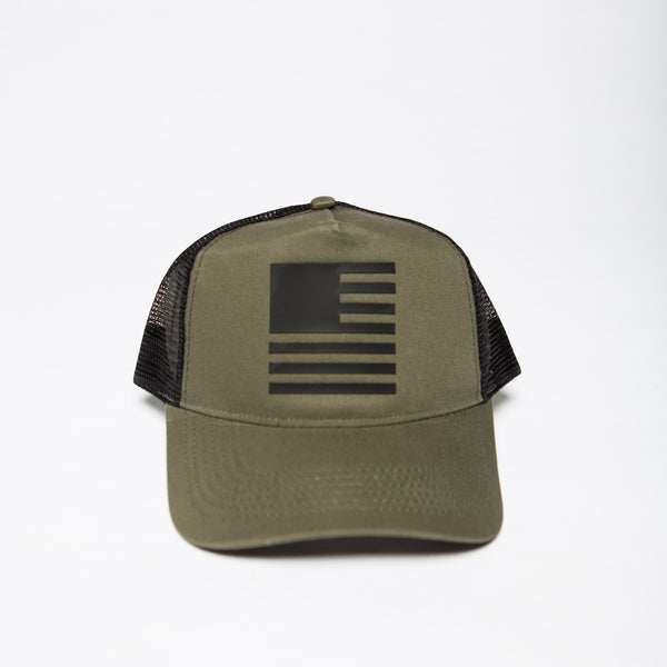 David Crowder American Prodigal hat in olive green with a black mesh back.