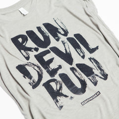 "Heather Stone David Crowder sleeveless top that reads ""Run Devil Run""."