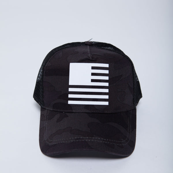 David Crowder flag hat in midnight camo.