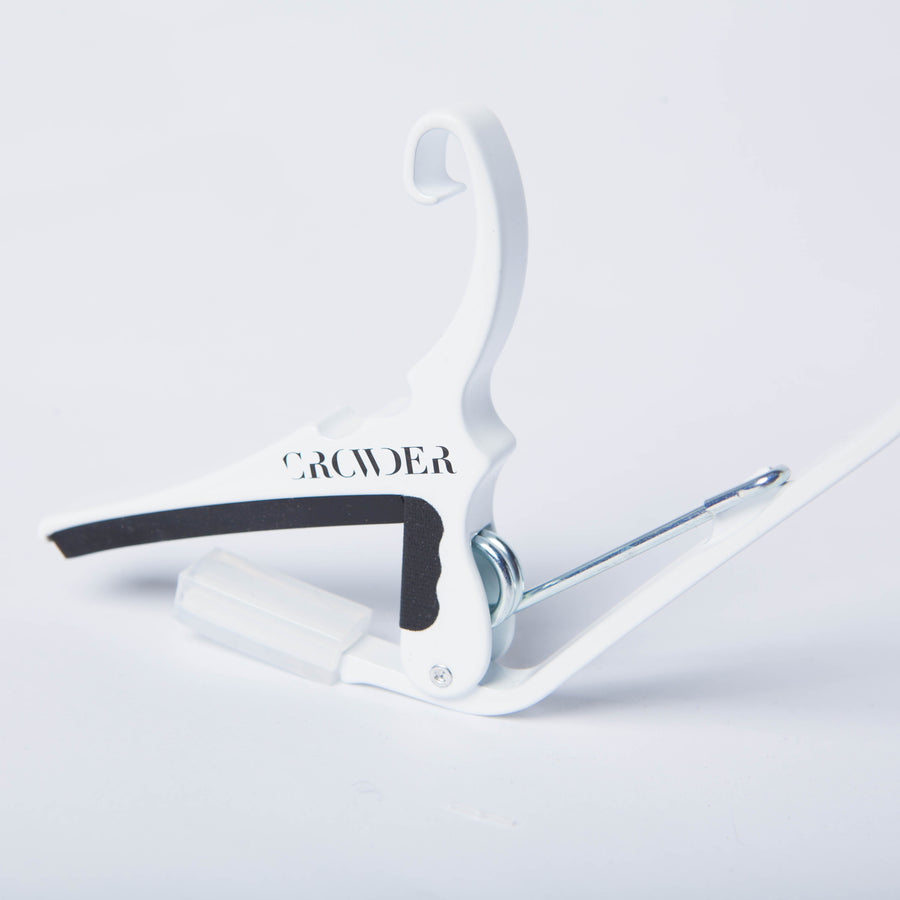 White Custom Crowder Guitar Capo Side View