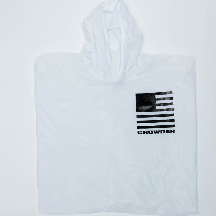 White David Crowder Rain Poncho with a black flag.
