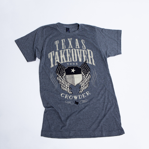 Gray David Crowder Texas Takeover Tour T-shirt with a shield and flag design.
