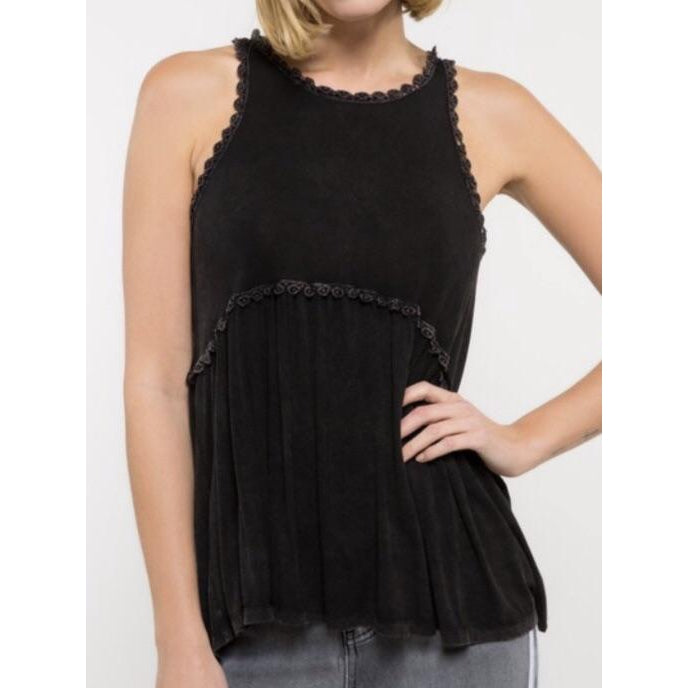 Charcoal Crochet Trim Flowy Tank