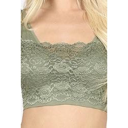Olive Green Front Lace Padded Bralette