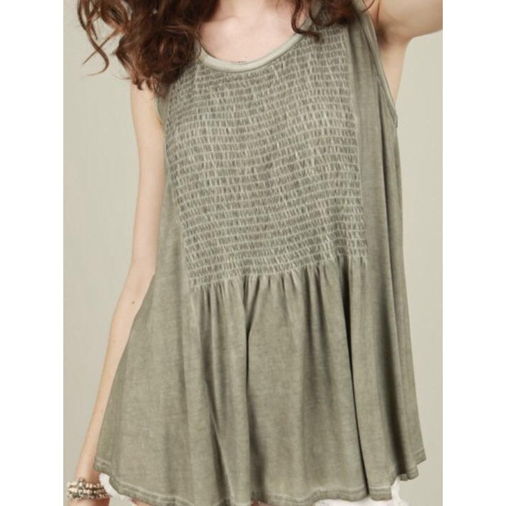 Olive Sleeveless Lace Up Back Babydoll Top