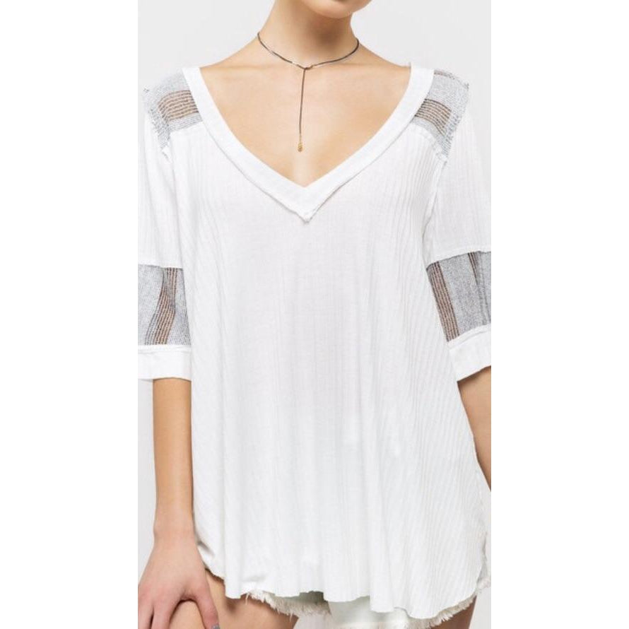 Effortless White Top with Black Trim