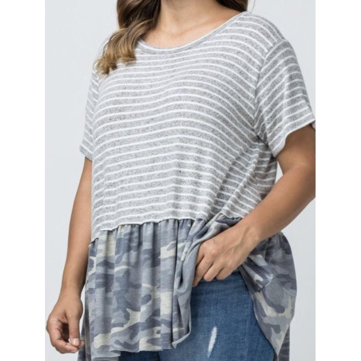 Striped Camo Ruffle Hem Tunic