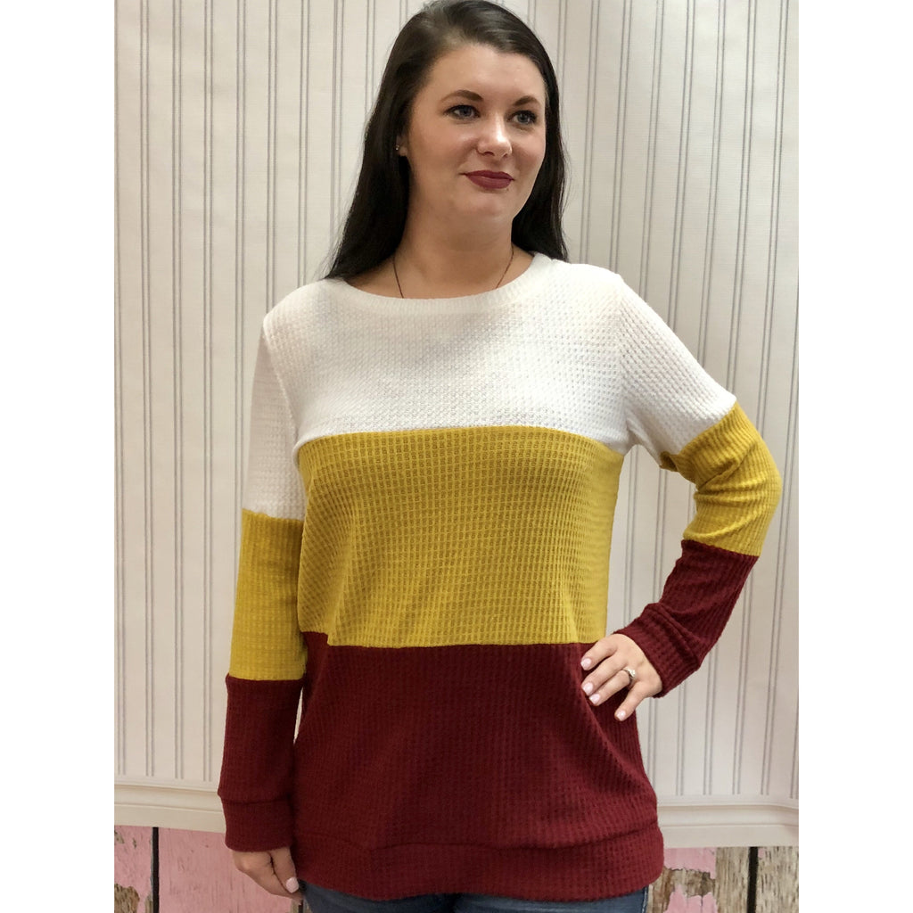 Maroon and Gold Colorblock Waffle Knit Top