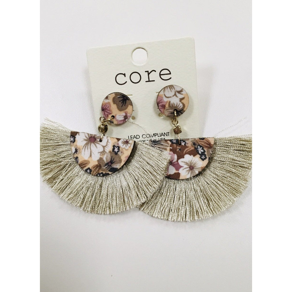 Half circle fringe earrings with flower pattern