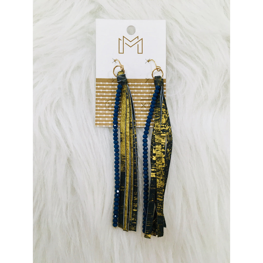 Blue and Gold Leather Strip Earrings