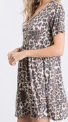 *Brown Leopard Babydoll Dress