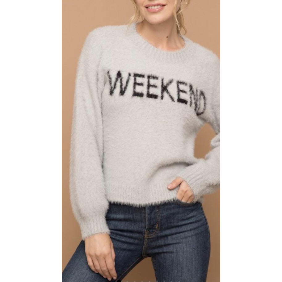 "Grey ""Weekend"" Sweater"