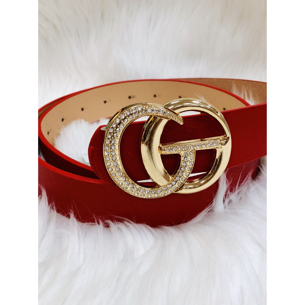Red Rhinestone Double Ring Buckle Belt