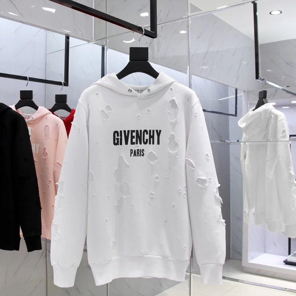 Givenchy White Ripped Hoodies - Grandeur Lux