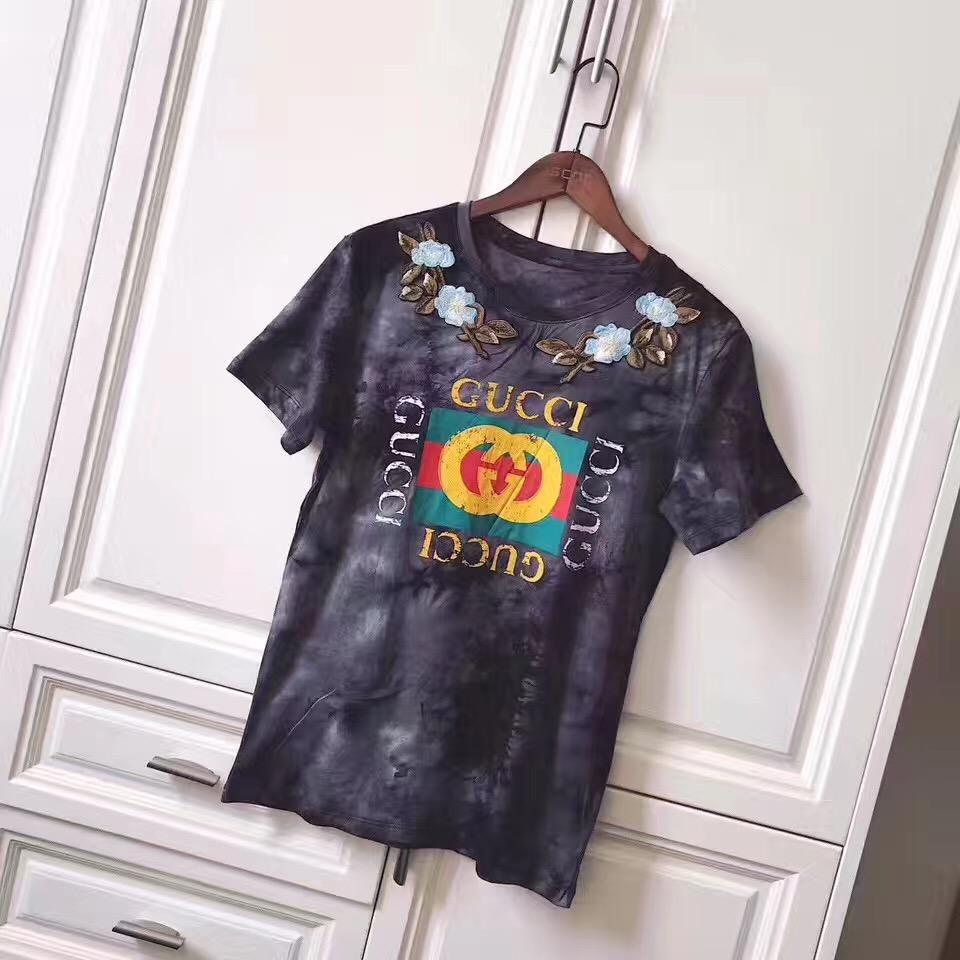 gucci grey flower t shirt - Grandeur Lux