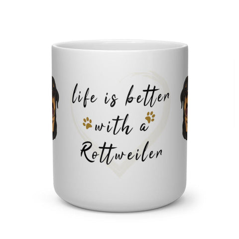 Life is better with a Rottweiler - Heart Shaped Mug-Mug-Rottweilers Shop