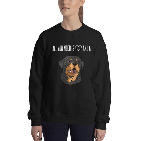 All You Need is Love and Rottweiler Sweatshirt-clothes-Rottweilers Shop