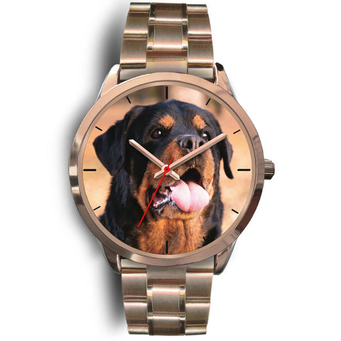 Rose Gold Rottweiler Watch with Metal Band-Rose Gold Watch-Rottweilers Shop