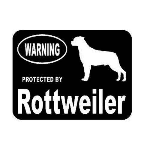 """Warning Protected By Rottweiler "" Car Stickers-Rottweilers Shop"