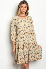 BEIGE WITH FLOWER DRESS D0145