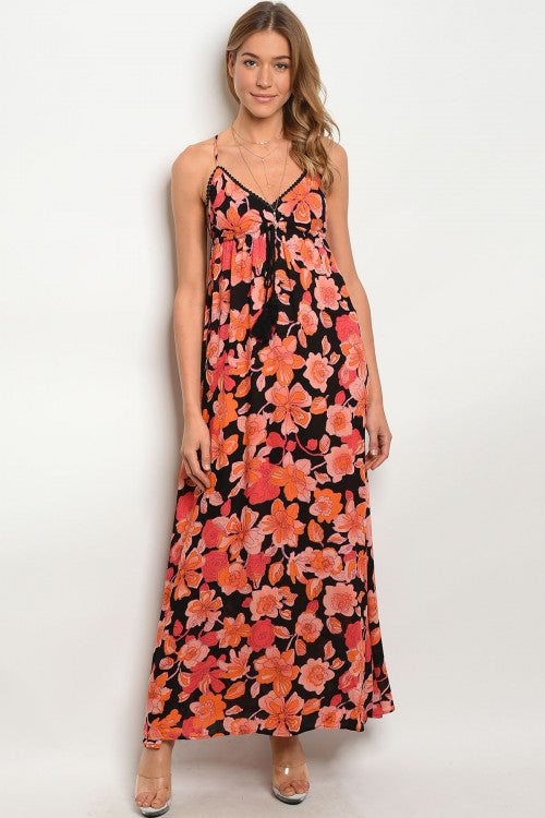 BLACK ORANGE FLORAL DRESS D078