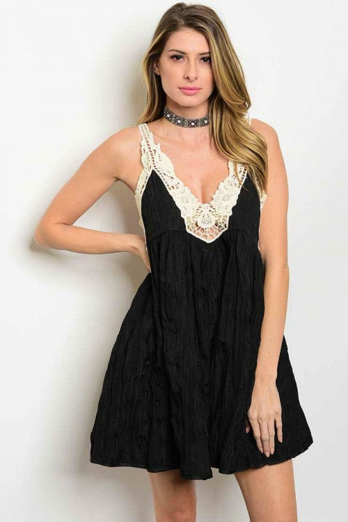 BLACK CREAM DRESS D21048