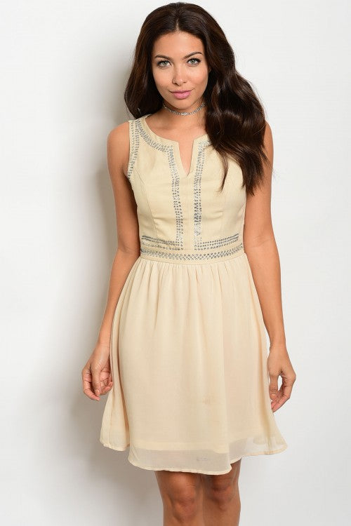 CREAM BEADED DRESS D1344