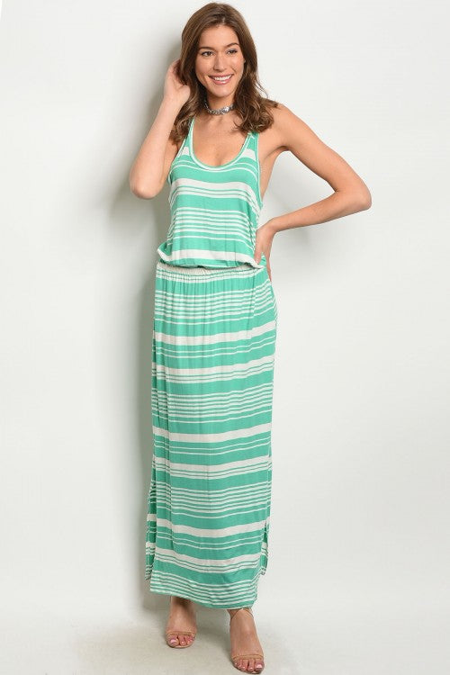 MINT IVORY STRIPES DRESS D831
