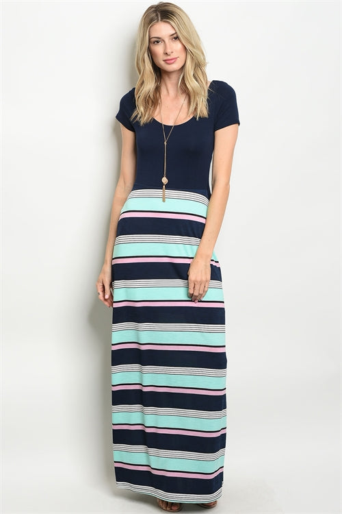 NAVY MINT STRIPES DRESS