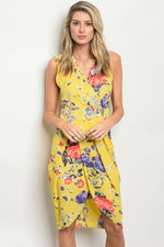 YELLOW FLORAL DRESS D6569
