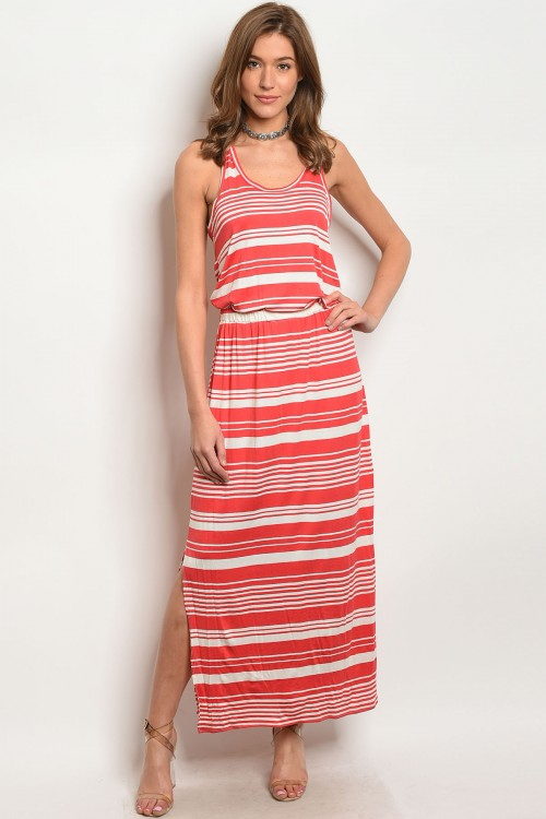 CORAL IVORY STRIPES DRESS D831