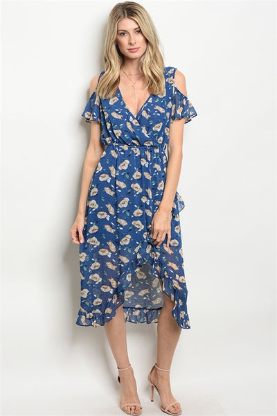 NAVY WITH PRINT DRESS
