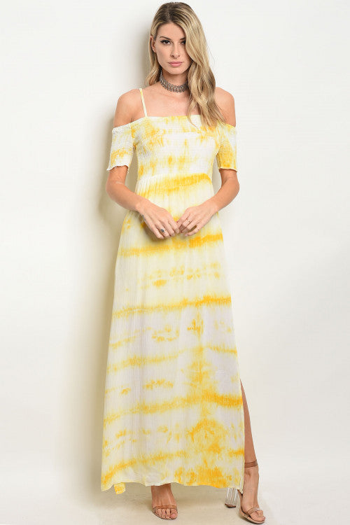 YELLOW TYE DYE DRESS D32045