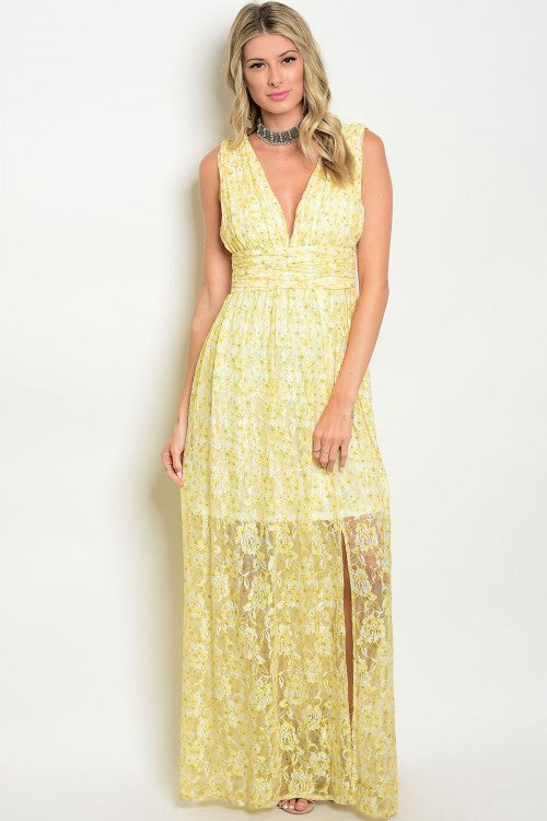 YELLOW FLORAL DRESS D16499