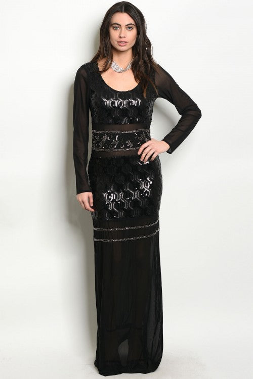 FEENA BLACK WITH SEQUINS DRESS -SPY