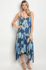 BLUE MULTI DRESS D5514