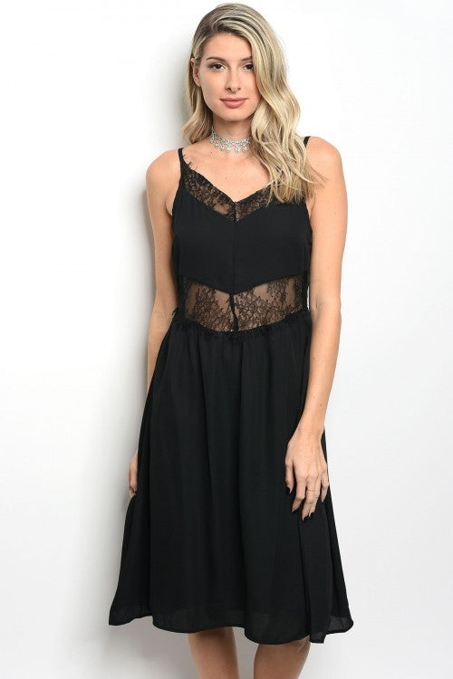 BLACK LACE DRESS D14024