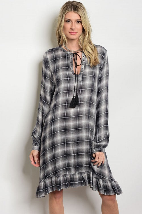 BLACK CHECKERED DRESS D2327
