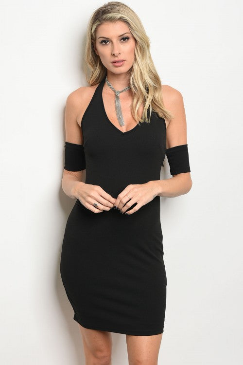 BLACK COLD SHOULDER DRESS D8437
