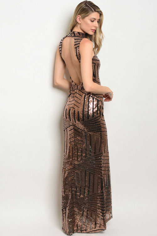 BLACK WITH BRONZE SEQUINS DRESS D4925