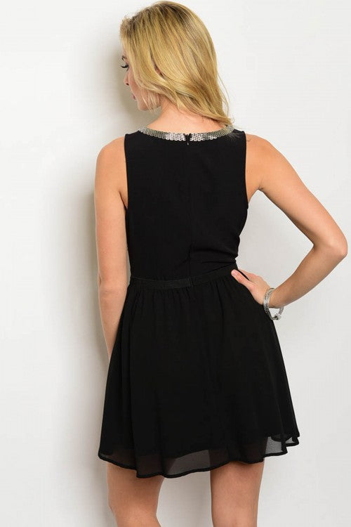 BLACK BEADED DRESS D3693