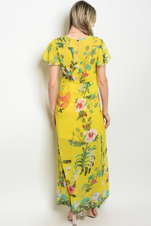 YELLOW FLORAL DRESS D9856